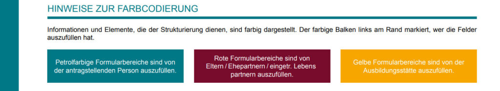 Farbcodierung BAföG Antrag Formblatt